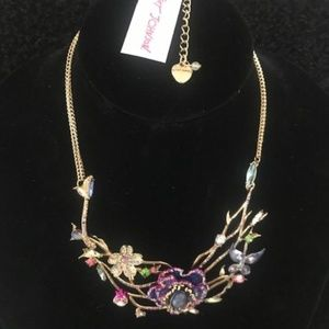BETSEY JOHNSON Floral A/B Crystal Necklace